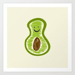 Smiling Avocado Food Art Print