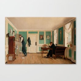 Room in Amaliegade with the Artist's Brothers, c. 1826 by Wilhelm Bendz Canvas Print