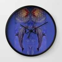 dolphins Wall Clocks featuring dolphins by ARTito