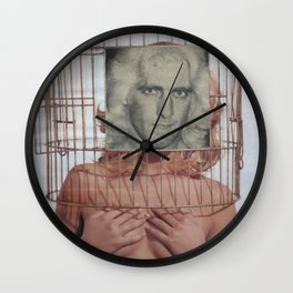 Bird in a Cage - Vintage Collage Wall Clock