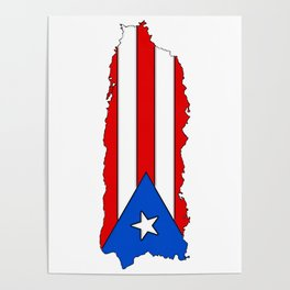 Puerto Rico Map with Puerto Rican Flag Poster