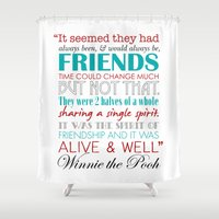 winnie the pooh Shower Curtains featuring Winnie the Pooh Friendship Quote - Red & Teal by Jaydot Creative