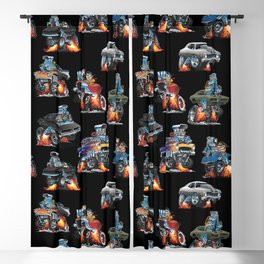 Car Crazy Classic Hot Rod Muscle Cars Cartoons Seamless Pattern Blackout Curtain