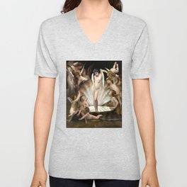 Bouguereau's Angels Surround Cupid Unisex V-Neck