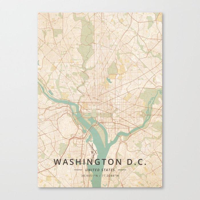 Washington D.C., United States - Vintage Map Leinwanddruck