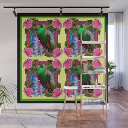 PINK ROSES & GREEN PEACOCK YELLOW GARDEN FLORAL ABSTRACT Wall Mural
