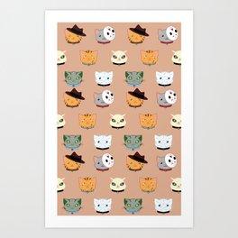 Slasher Kitties (Horror-movie inspired cats) - Pattern V. Art Print
