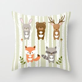 Cute Woodland Forest Animals Throw Pillow