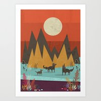 wolves Art Prints featuring Wolves by Kakel