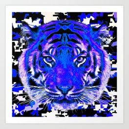 camouflage tiger on blue Art Print