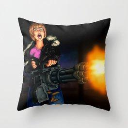 gatling girl Throw Pillow