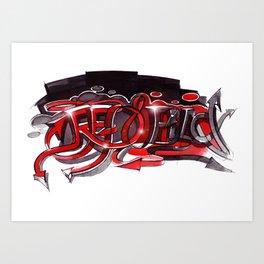 Graffiti red and black Art Print