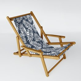 Tropical Palm Leaves - Navy Blue Sling Chair