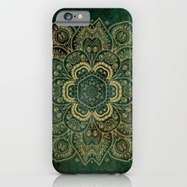 Golden Flower Mandala on Dark Green iPhone Case