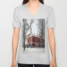 Side View of the Iron County Courthouse Unisex V-Neck