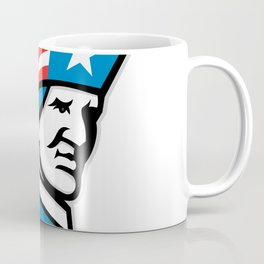 American Patriot Head USA Flag Mascot Coffee Mug