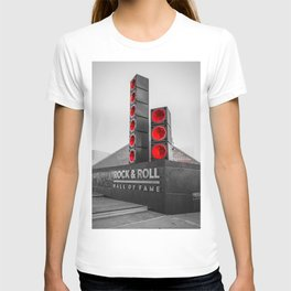 Cleveland Ohio Rock And Roll Hall Of Fame Black White Red T-shirt