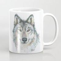 wolf Mugs featuring Wolf  by Olechka