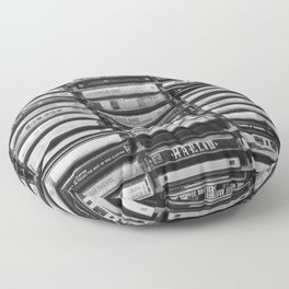 Cassette Tapes Pattern (Black and White) Floor Pillow