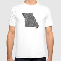 Typographic Missouri White Mens Fitted Tee MEDIUM