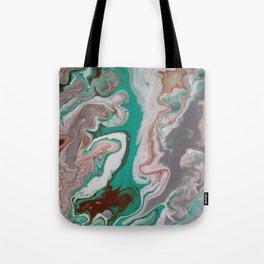Aqua Fluid Acrylic Pour Painting Tote Bag