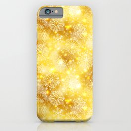 Snowflakes on golden iPhone Case