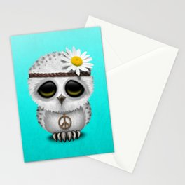 Cute Baby Owl Hippie Stationery Cards