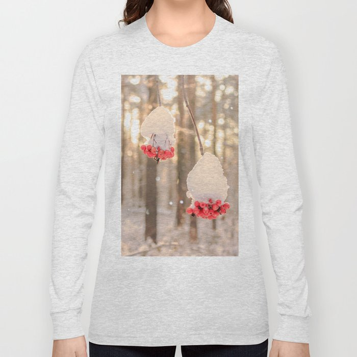 Rowan berries in the snow Long Sleeve T-shirt