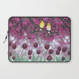 goldfinches, tulips, & flowering crabapple Laptop Sleeve