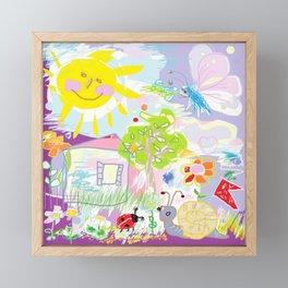 My happy world Doodle for children room Nursery home decor Framed Mini Art Print