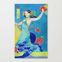 Blue Tibetan Poppy Goddess Canvas Print