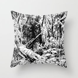 Sasquatch is camouflaged Throw Pillow