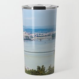 Panoramic skyline view of the Danube in Budapest Travel Mug