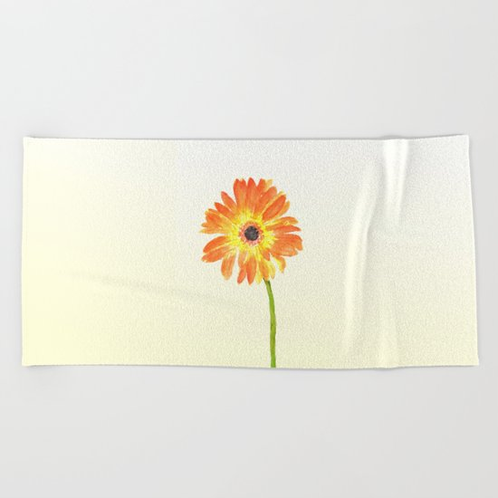 orange gerbera Beach Towel