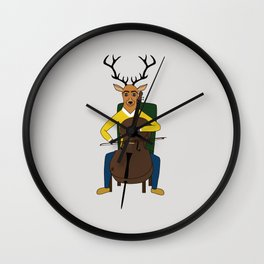 Deer playing cello Wall Clock