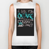 middle earth Biker Tanks featuring I Left My Heart in Middle Earth (white version) by Nikki Fernandez