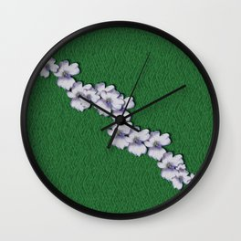 Cherry-blossoms Branch Decorative On A Field Of Fern Wall Clock