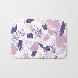 Modern ultra violet pink lavender brushstrokes abstract splatters Bath Mat