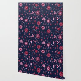 Pink and navy floral with wild roses Wallpaper