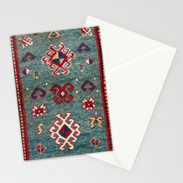 Chevron Stars // 19th Century Colorful Steel Blue Light Green Teal Checkered Ornate Accent Pattern Stationery Cards