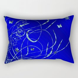 blue festive shiny metal pattern with small butterflies, Asian flowers and drops of water Rectangular Pillow