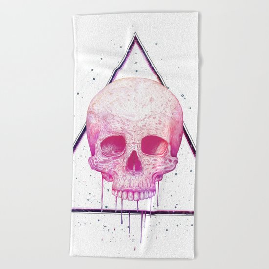 Skull in triangle Beach Towel