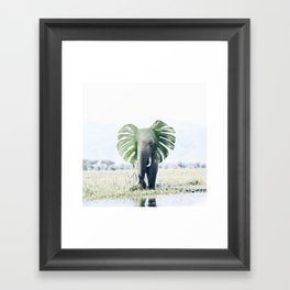 Elephant + Leaf Framed Art Print