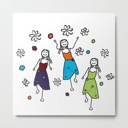 Hippie Chicks Dancing to the Music Metal Print