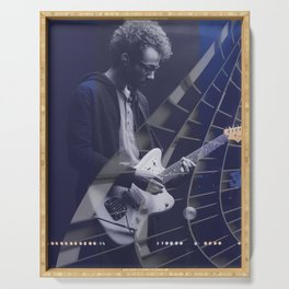 Guitarist in concert blue Serving Tray