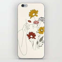 Colorful Thoughts Minimal Line Art Woman with Flowers III iPhone Skin