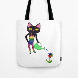 Black Cat Wearing Rainbow Unitard While Gardening Tote Bag