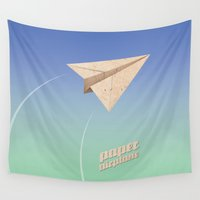 plane Wall Tapestries featuring Paper Plane by Tony Vazquez
