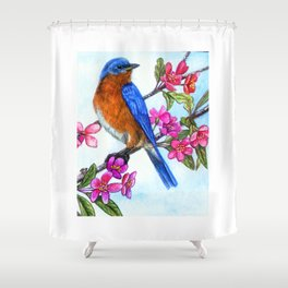 Bluebird and Apple Blossoms Shower Curtain