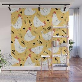 Lovely Little Hens Wall Mural